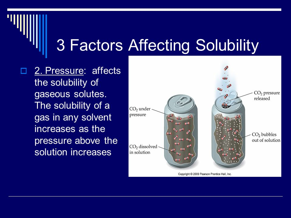3 Factors Affecting Solubility  2. Pressure: affects the solubility of gaseous solutes.
