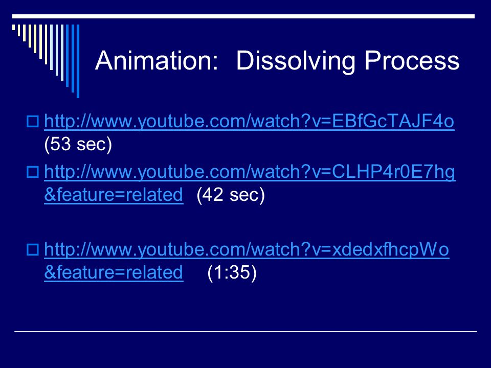 Animation: Dissolving Process  http://www.youtube.com/watch v=EBfGcTAJF4o (53 sec) http://www.youtube.com/watch v=EBfGcTAJF4o  http://www.youtube.com/watch v=CLHP4r0E7hg &feature=related (42 sec) http://www.youtube.com/watch v=CLHP4r0E7hg &feature=related  http://www.youtube.com/watch v=xdedxfhcpWo &feature=related (1:35) http://www.youtube.com/watch v=xdedxfhcpWo &feature=related