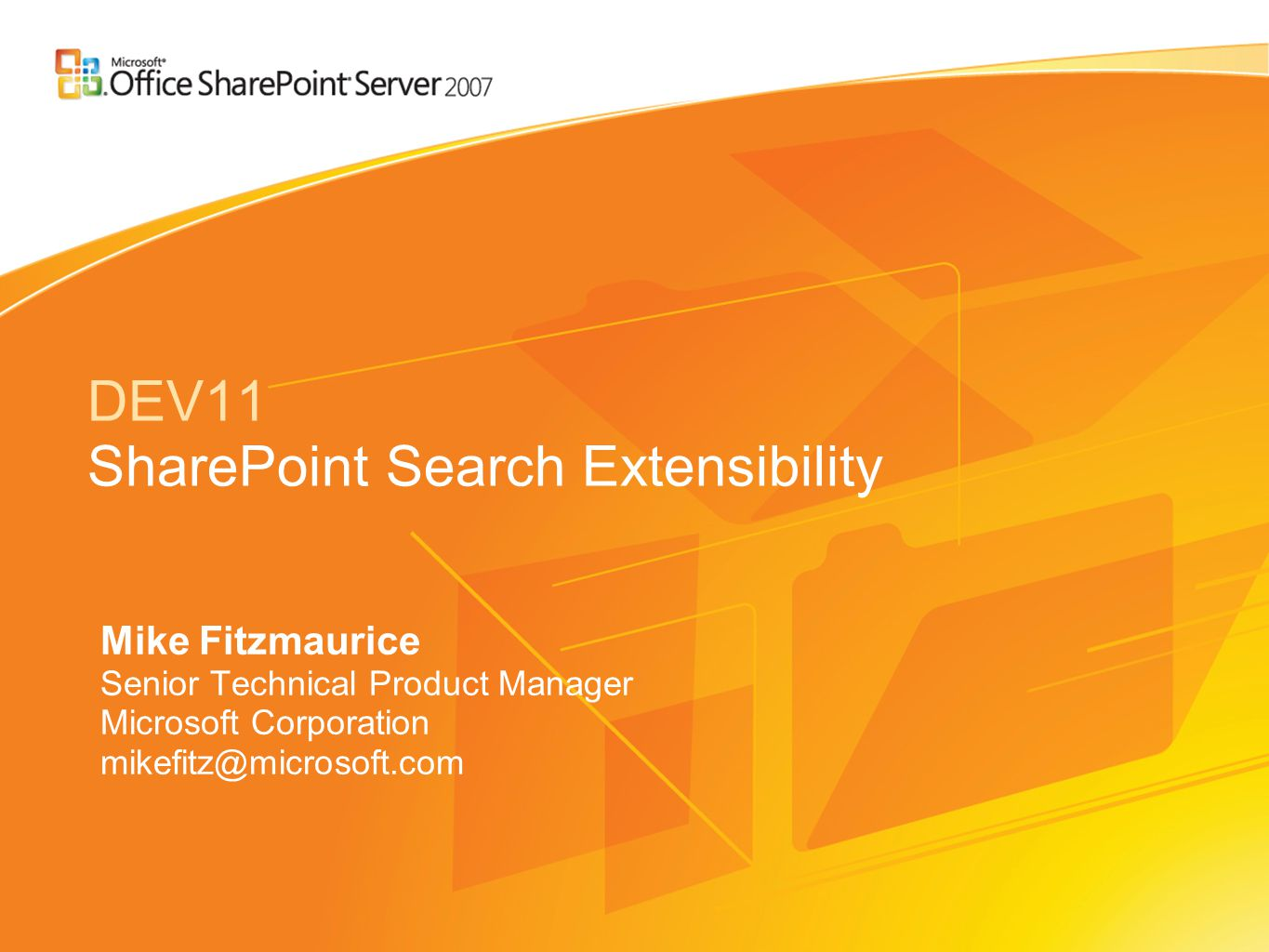 Security Query-time security trimming (Same as SPS 2003) –File shares, WSS/SPS 2003, Exchange, Lotus Notes (via mapping) Support for custom security trimming –ISecurityTrimmer interface Microsoft.Office.Server.Search.Query namespace –Implement Initialize() and CheckAccess() –Add the custom security trimmer assembly to the GAC –Register the security trimmer using stsadm command