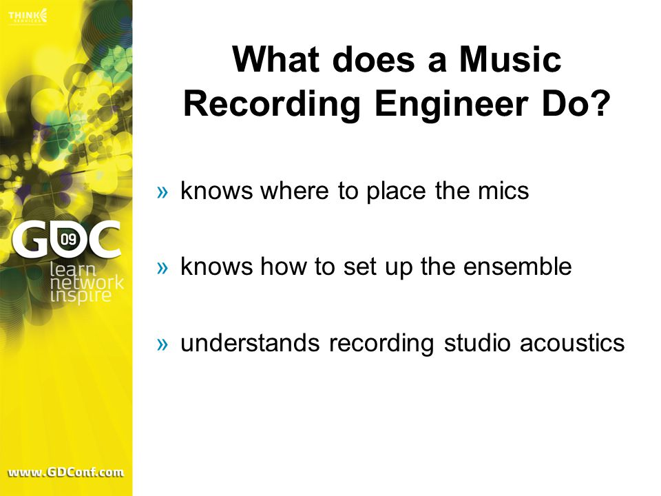 What does a Music Recording Engineer Do.