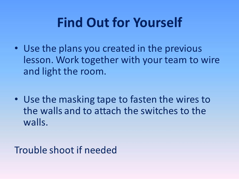 Find Out for Yourself Use the plans you created in the previous lesson.