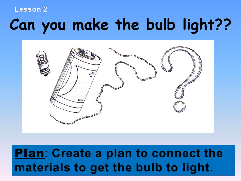 Lesson 2Lesson 2 Can you make the bulb light .