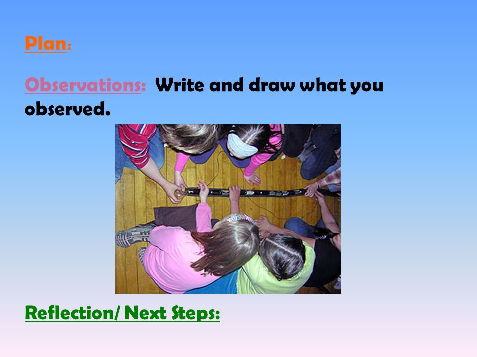 Observations: Write and draw what you observed. Reflection/ Next Steps: Plan :