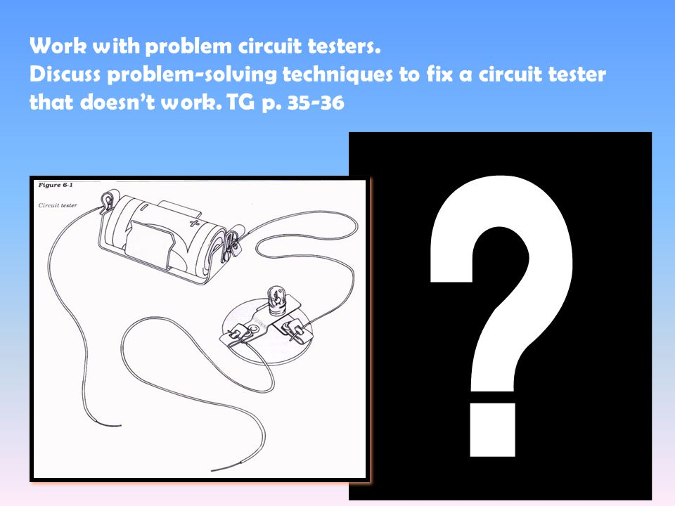 got problems Work with problem circuit testers.