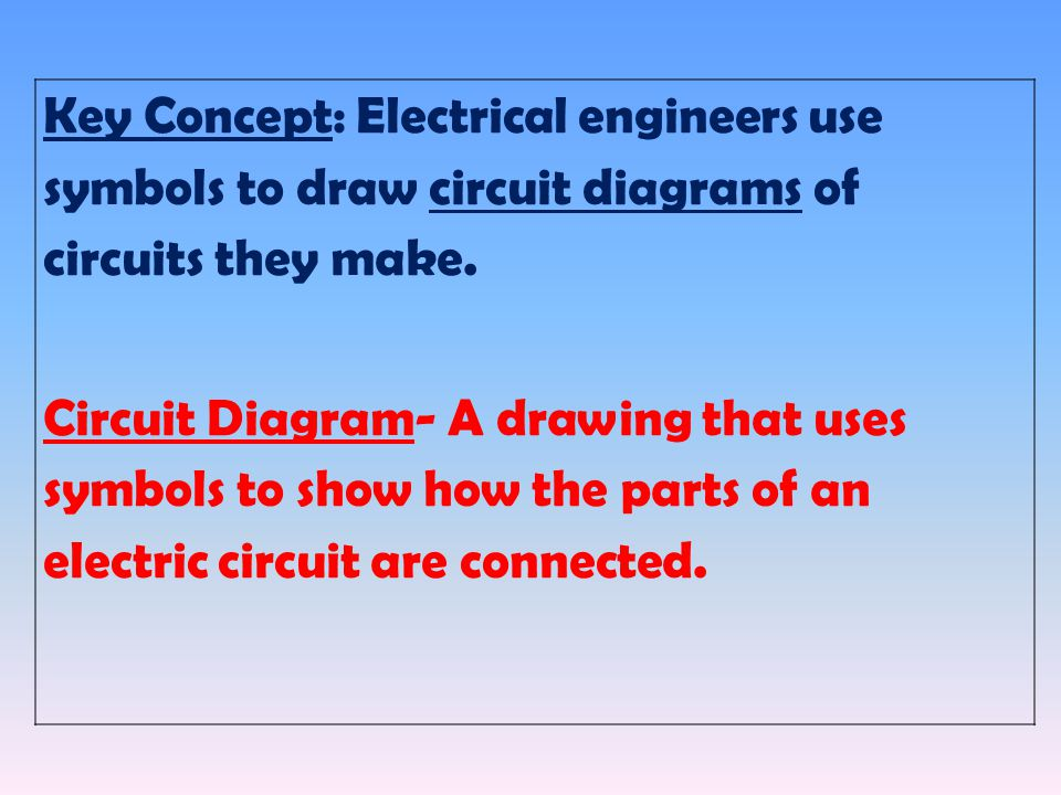 Key Concept: Electrical engineers use symbols to draw circuit diagrams of circuits they make.