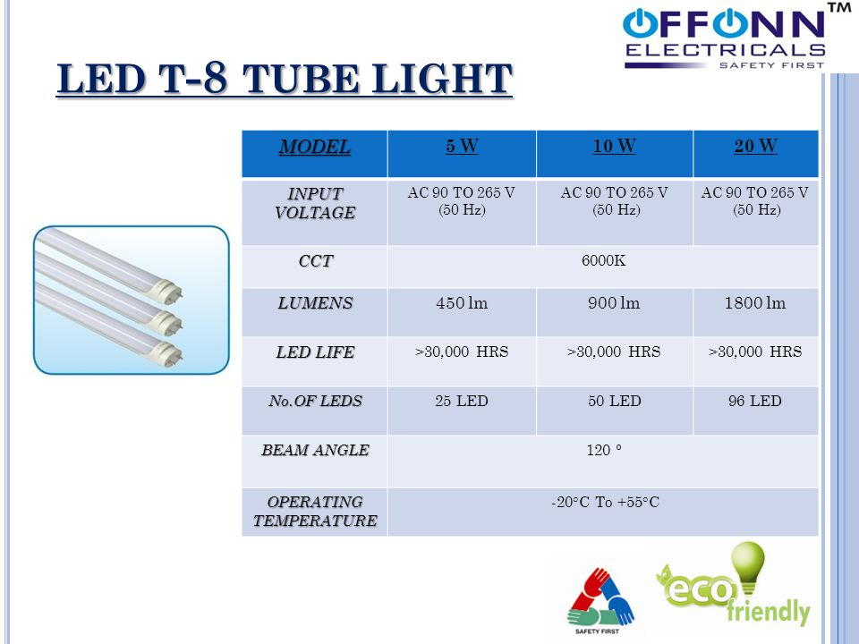 LED T - 8 TUBE LIGHT MODEL 5 W10 W20 W INPUT VOLTAGE AC 90 TO 265 V (50 Hz) AC 90 TO 265 V (50 Hz) AC 90 TO 265 V (50 Hz) CCT 6000K LUMENS 450 lm900 l