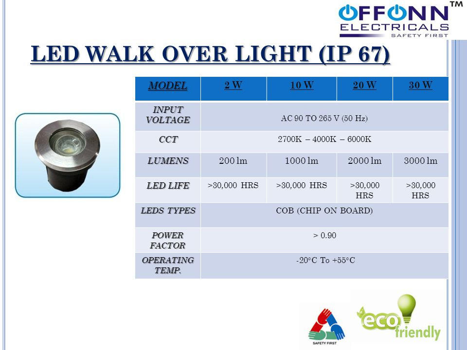 LED WALK OVER LIGHT (IP 67) MODEL 2 W10 W20 W30 W INPUT VOLTAGE AC 90 TO 265 V (50 Hz) CCT 2700K – 4000K – 6000K LUMENS 200 lm1000 lm2000 lm3000 lm LED LIFE >30,000 HRS LEDS TYPES COB (CHIP ON BOARD) POWER FACTOR > 0.90 OPERATING TEMP.
