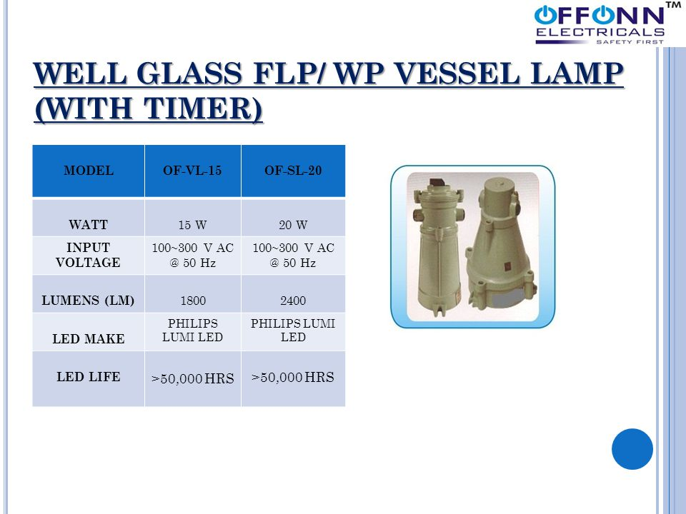 WELL GLASS FLP/ WP VESSEL LAMP (WITH TIMER) MODELOF-VL-15OF-SL-20 WATT 15 W20 W INPUT VOLTAGE 100~300 V AC @ 50 Hz LUMENS (LM) 18002400 LED MAKE PHILI