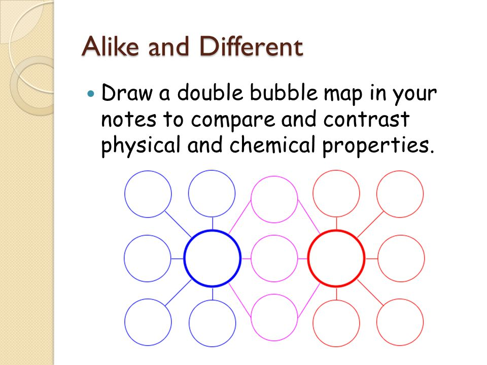Alike and Different Draw a double bubble map in your notes to compare and contrast physical and chemical properties.