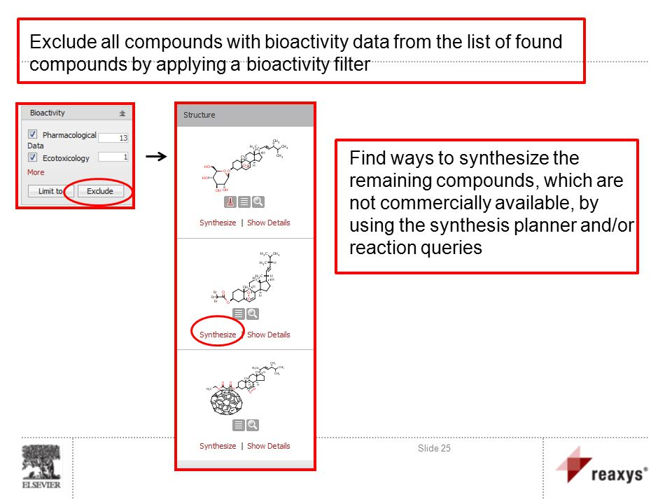 Exclude all compounds with bioactivity data from the list of found compounds by applying a bioactivity filter Slide 25 Find ways to synthesize the remaining compounds, which are not commercially available, by using the synthesis planner and/or reaction queries
