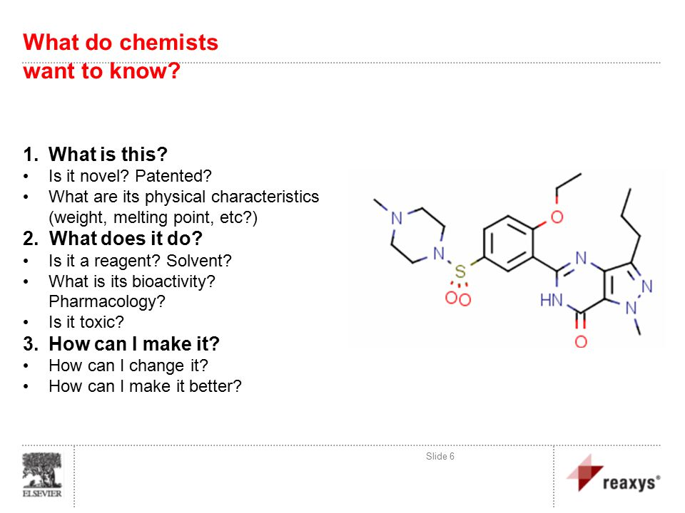 Slide 6 What do chemists want to know. 1.What is this.