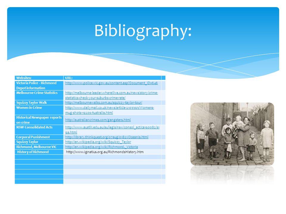 Bibliography: Websites:URL: Victoria Police - Richmond Depot information http://www.police.vic.gov.au/content.asp?Document_ID=646 Melbourne Crime Stat