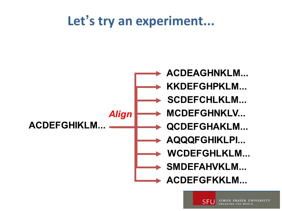 Let's try an experiment... ACDEFGHIKLM... ACDEAGHNKLM...