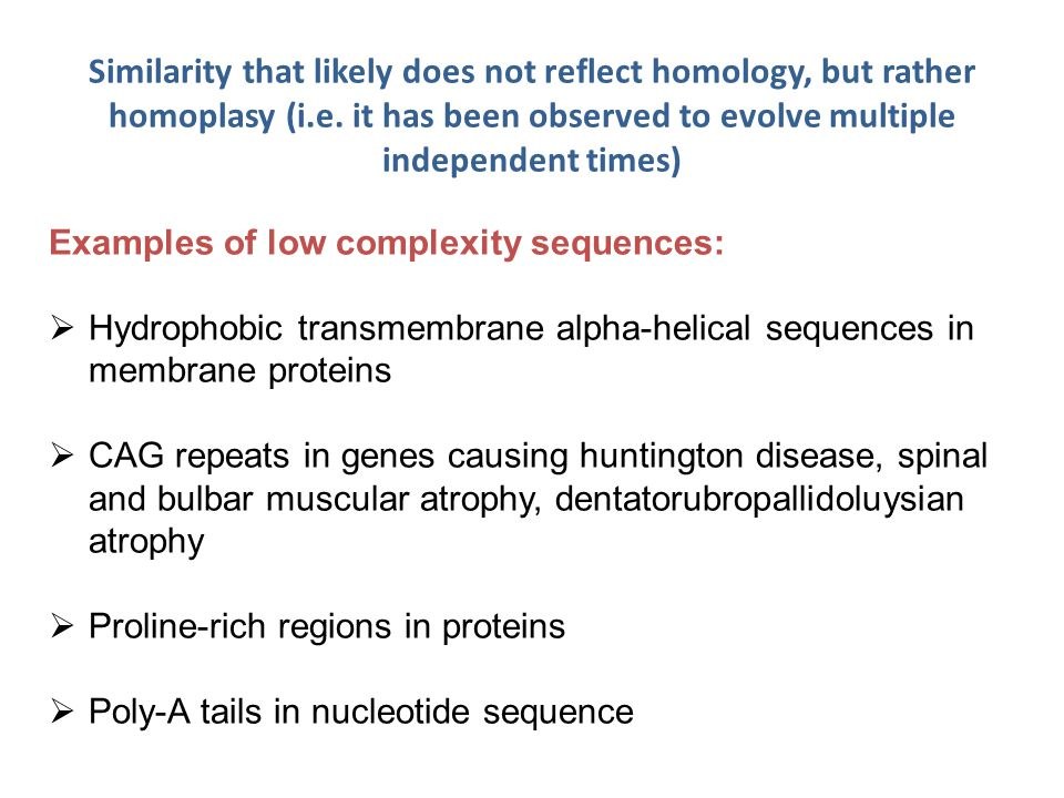 Similarity that likely does not reflect homology, but rather homoplasy (i.e.