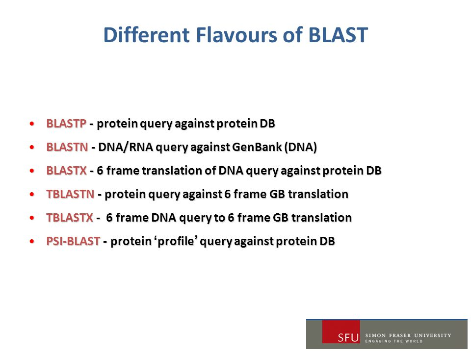Different Flavours of BLAST BLASTP - protein query against protein DBBLASTP - protein query against protein DB BLASTN - DNA/RNA query against GenBank (DNA)BLASTN - DNA/RNA query against GenBank (DNA) BLASTX - 6 frame translation of DNA query against protein DBBLASTX - 6 frame translation of DNA query against protein DB TBLASTN - protein query against 6 frame GB translationTBLASTN - protein query against 6 frame GB translation TBLASTX - 6 frame DNA query to 6 frame GB translationTBLASTX - 6 frame DNA query to 6 frame GB translation PSI-BLAST - protein 'profile' query against protein DBPSI-BLAST - protein 'profile' query against protein DB