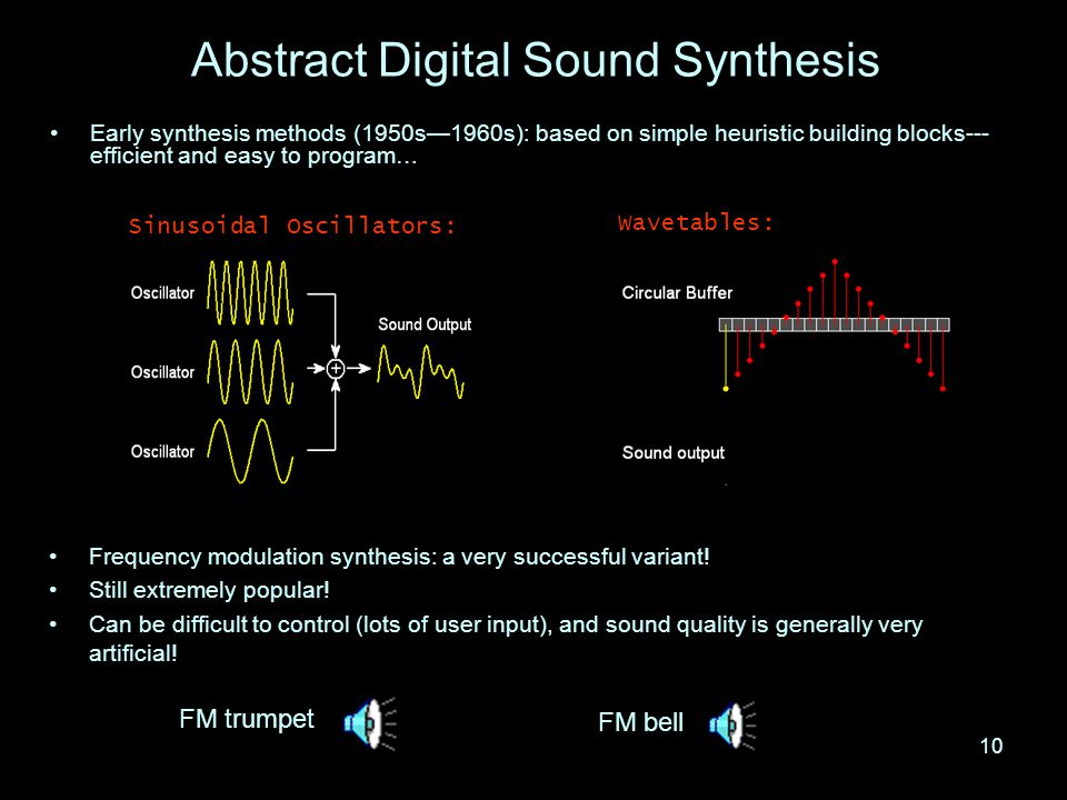 9 Digital Sound Synthesis A longstanding attempt to move away from the use of recorded sound (sampling) Analogous to computer graphics rendering.