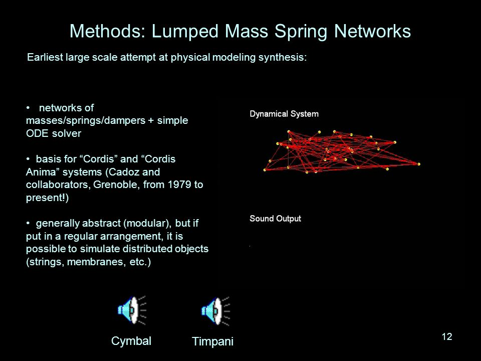 11 Physical Modeling Sound Synthesis Physical models: –based on physical descriptions of musical objects … –can be computationally demanding… –potentially very realistic * sound –control parameters: few in number, and perceptually meaningful * realism needs a good definition, if there is not a real-world reference.
