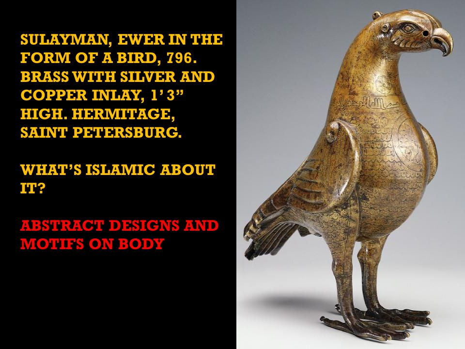 SULAYMAN, EWER IN THE FORM OF A BIRD, 796. BRASS WITH SILVER AND COPPER INLAY, 1' 3 HIGH.