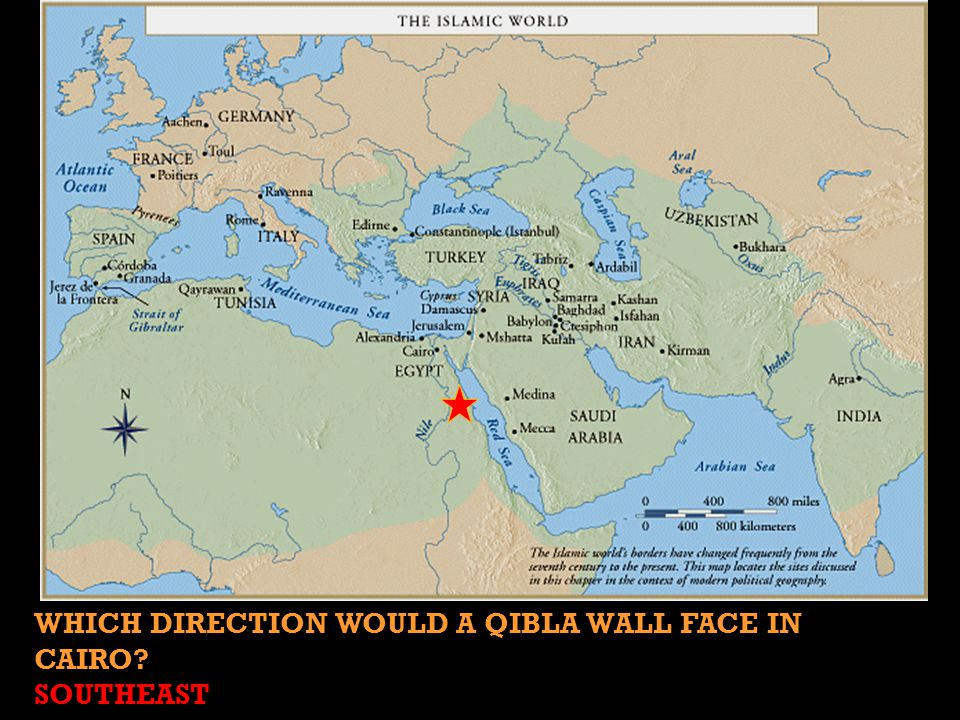 WHICH DIRECTION WOULD A QIBLA WALL FACE IN CAIRO? SOUTHEAST