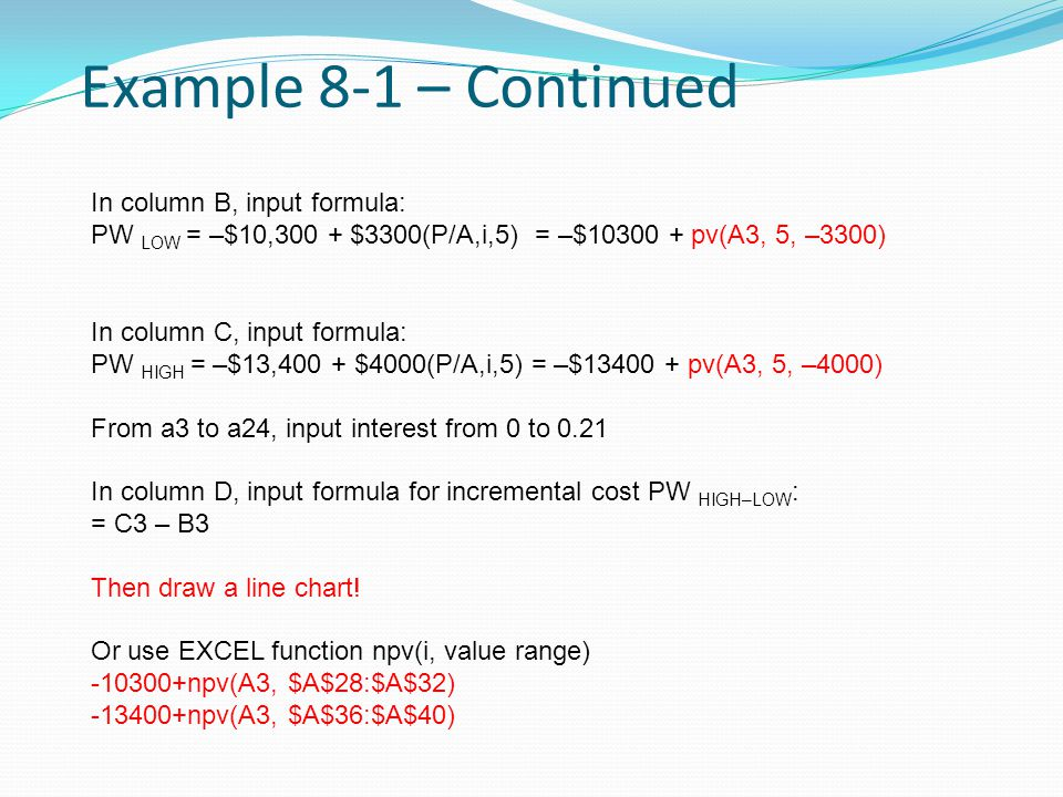 Example 8-1 – Continued In column B, input formula: PW LOW = –$10,300 + $3300(P/A,i,5) = –$10300 + pv(A3, 5, –3300) In column C, input formula: PW HIG