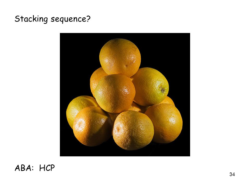 34 Stacking sequence ABA: HCP
