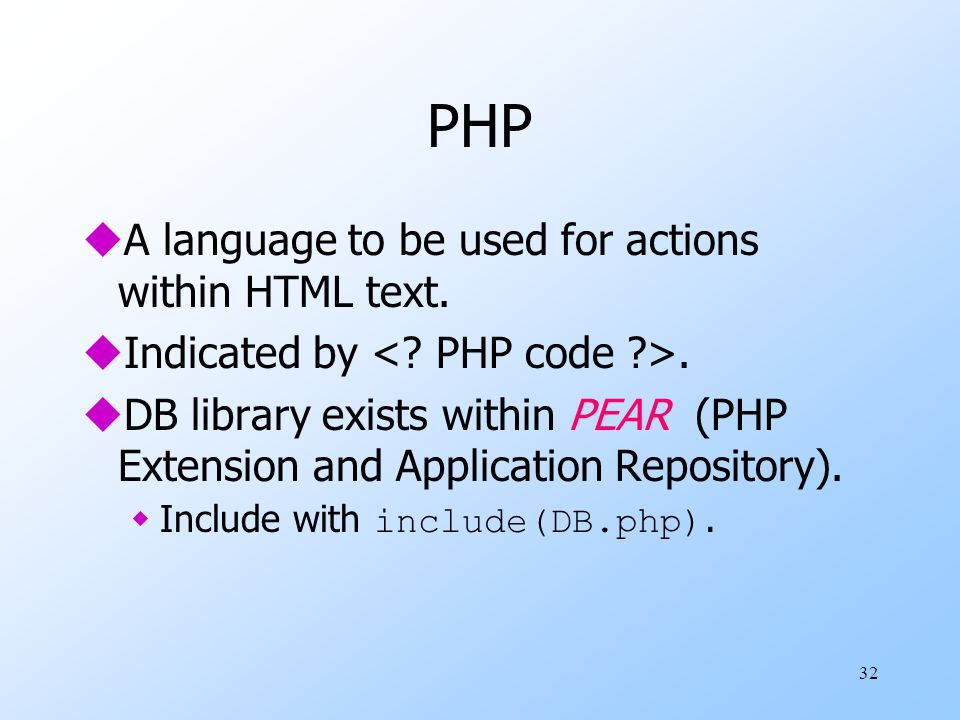 32 PHP uA language to be used for actions within HTML text.