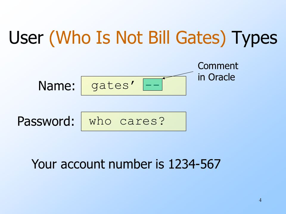 4 User (Who Is Not Bill Gates) Types Name: Password: Your account number is 1234-567 gates' -- who cares.
