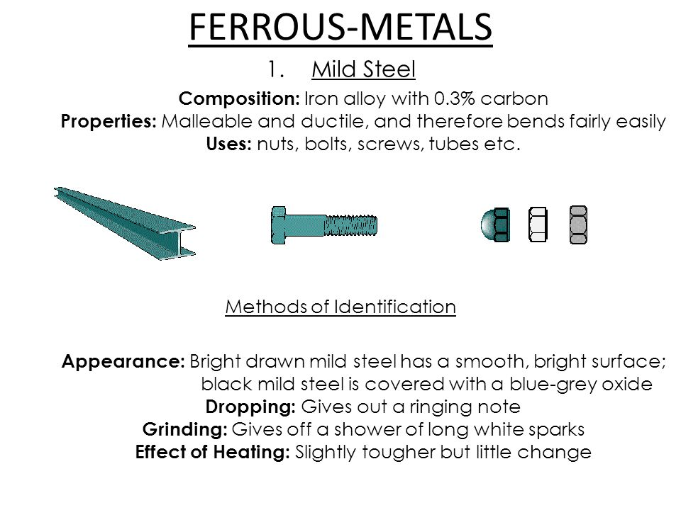 FERROUS-METALS 1.Mild Steel Composition: Iron alloy with 0.3% carbon Properties: Malleable and ductile, and therefore bends fairly easily Uses: nuts, bolts, screws, tubes etc.