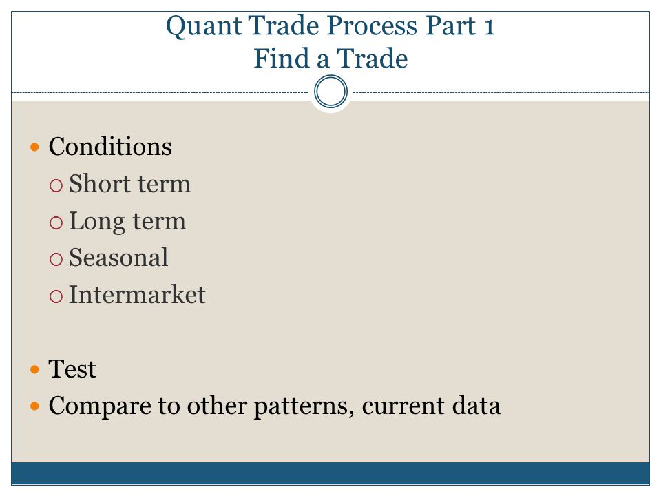 Quant Trade Process Part 1 Find a Trade Conditions  Short term  Long term  Seasonal  Intermarket Test Compare to other patterns, current data