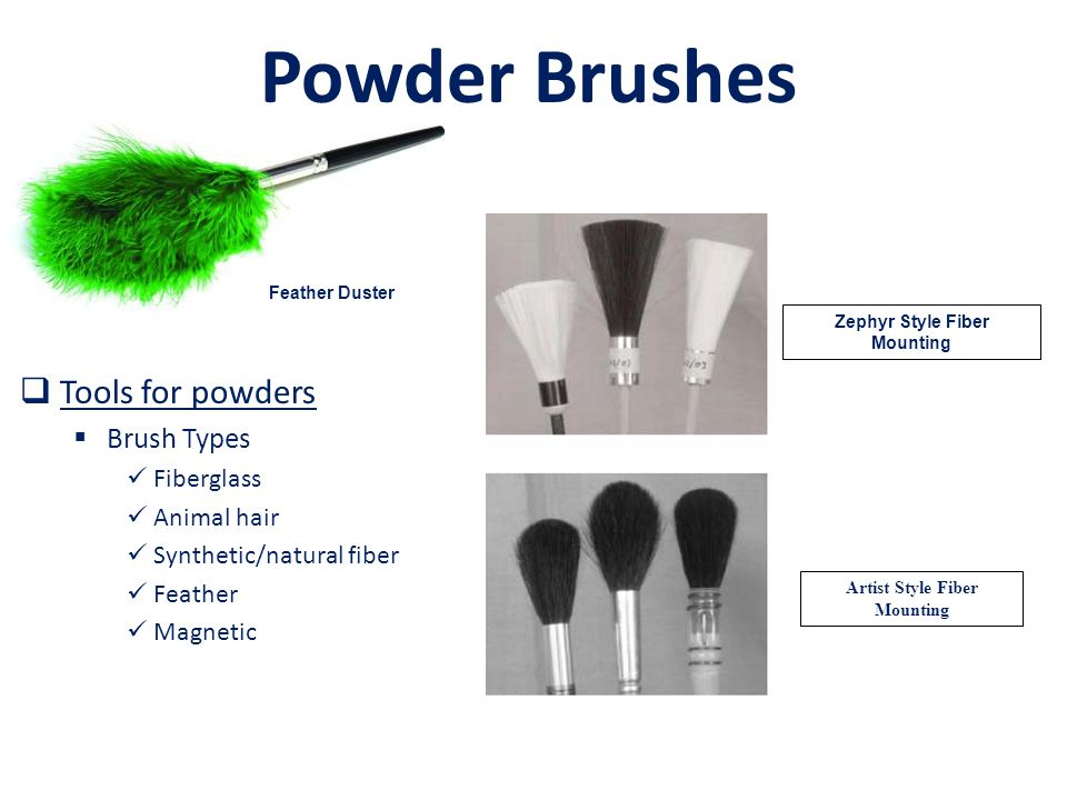 Powder Brushes Zephyr Style Fiber Mounting Artist Style Fiber Mounting  Tools for powders  Brush Types Fiberglass Animal hair Synthetic/natural fiber Feather Magnetic Feather Duster