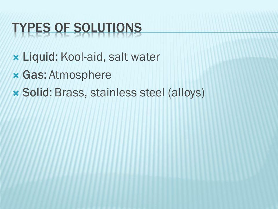  Liquid: Kool-aid, salt water  Gas: Atmosphere  Solid: Brass, stainless steel (alloys)