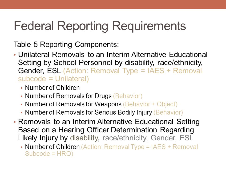 Federal Reporting Requirements Table 5 Reporting Components: Unilateral Removals to an Interim Alternative Educational Setting by School Personnel by