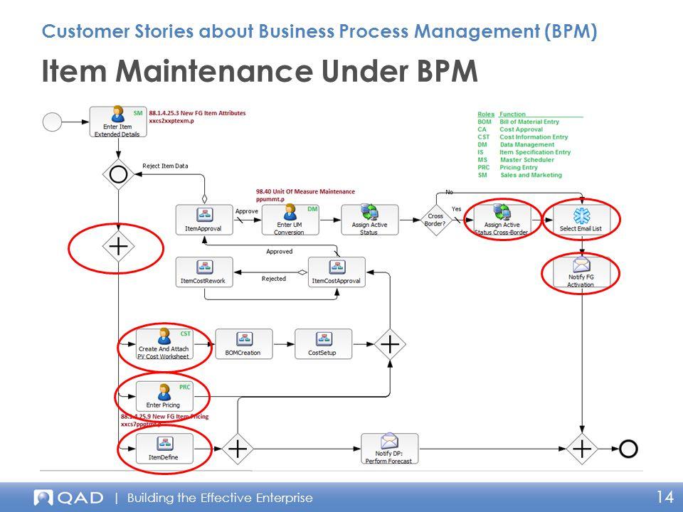 | Building the Effective Enterprise 14 Item Maintenance Under BPM Customer Stories about Business Process Management (BPM)