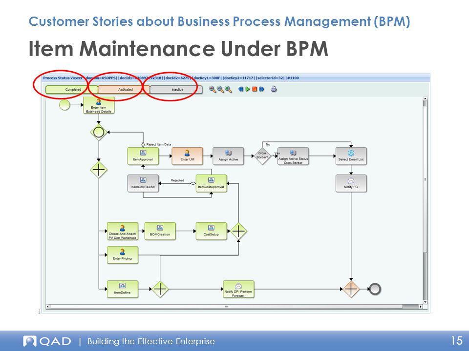 | Building the Effective Enterprise 15 Item Maintenance Under BPM Customer Stories about Business Process Management (BPM)