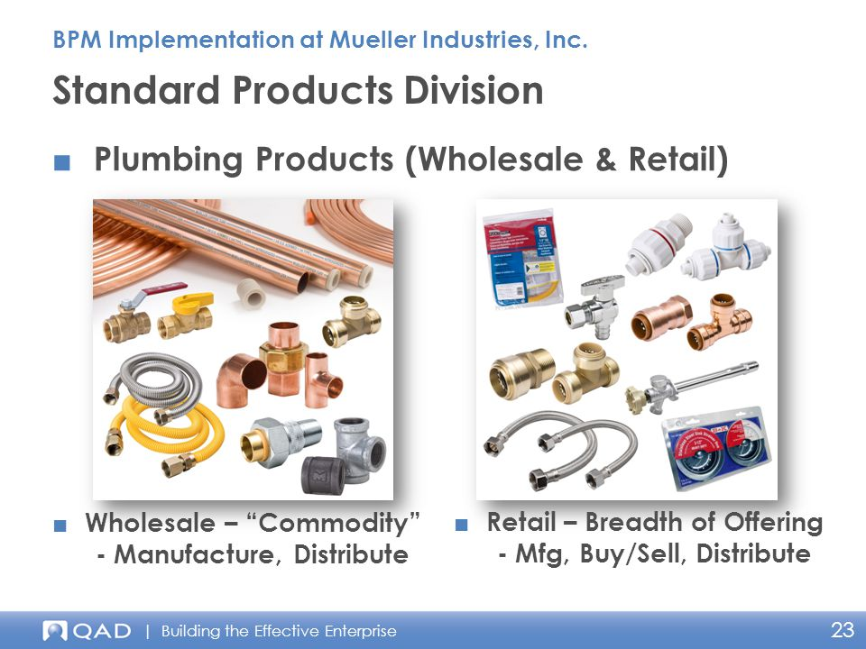 | Building the Effective Enterprise 23 ■ Plumbing Products (Wholesale & Retail) Standard Products Division BPM Implementation at Mueller Industries, Inc.