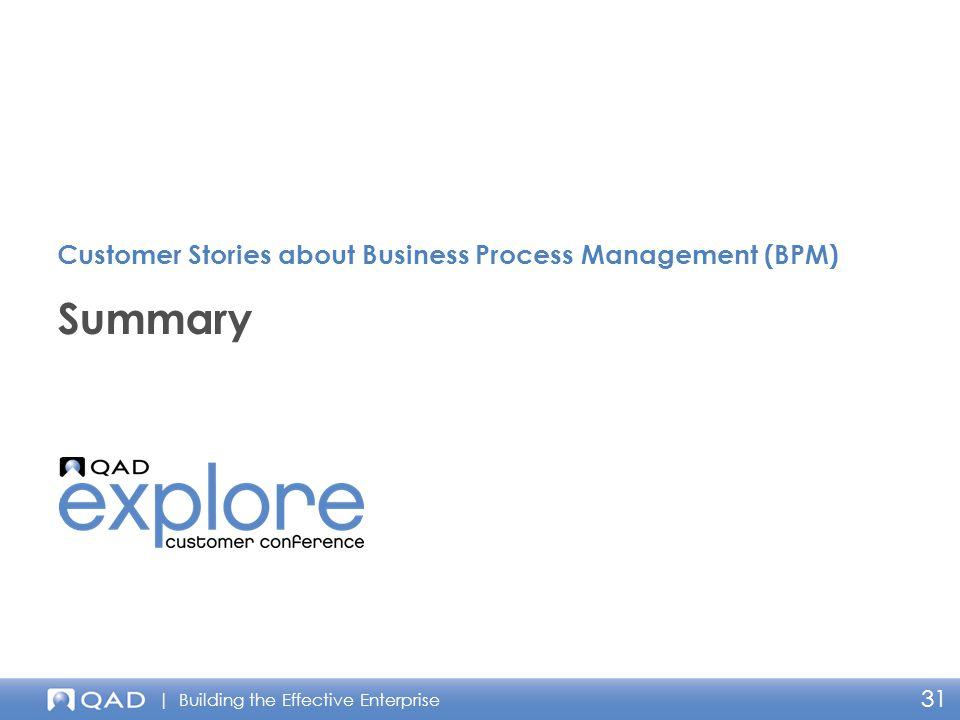 | Building the Effective Enterprise 31 Summary Customer Stories about Business Process Management (BPM)