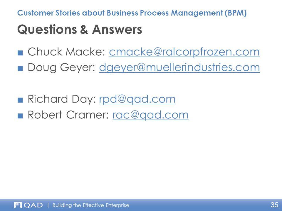 | Building the Effective Enterprise 35 ■Chuck Macke: cmacke@ralcorpfrozen.comcmacke@ralcorpfrozen.com ■Doug Geyer: dgeyer@muellerindustries.comdgeyer@