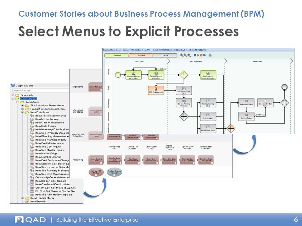 | Building the Effective Enterprise 6 Select Menus to Explicit Processes Customer Stories about Business Process Management (BPM)