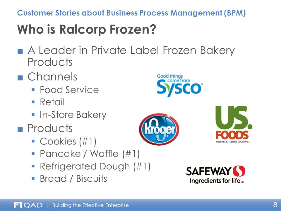 | Building the Effective Enterprise 8 ■A Leader in Private Label Frozen Bakery Products ■Channels  Food Service  Retail  In-Store Bakery ■Products  Cookies (#1)  Pancake / Waffle (#1)  Refrigerated Dough (#1)  Bread / Biscuits Who is Ralcorp Frozen.