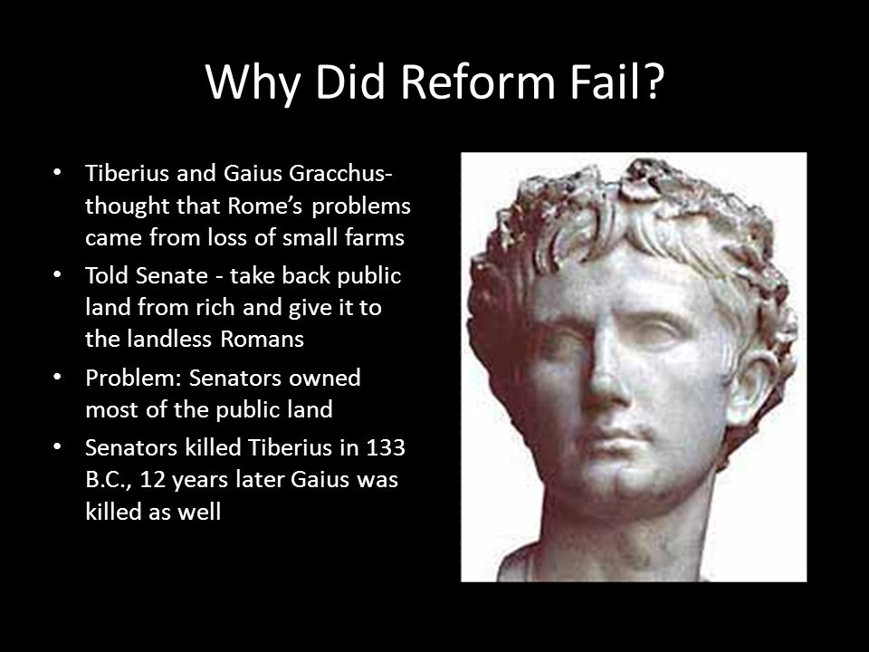 Why Did Reform Fail? Tiberius and Gaius Gracchus- thought that Rome's problems came from loss of small farms Told Senate - take back public land from