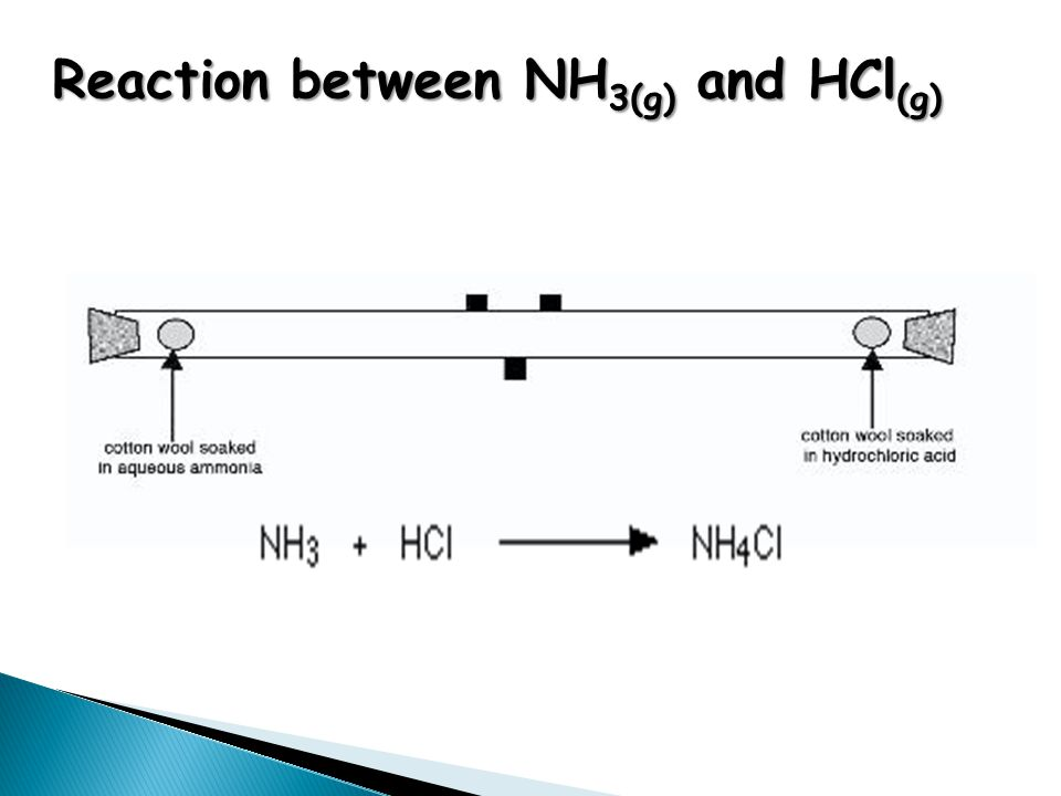 Reaction between NH 3(g) and HCl (g)