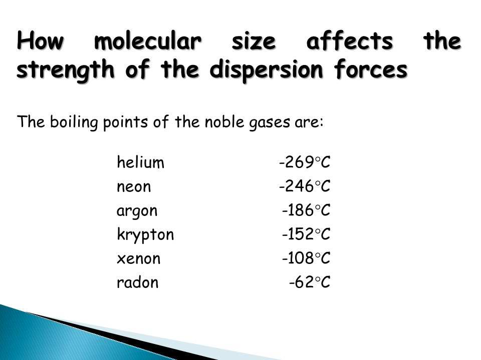 helium -269°C neon -246°C argon -186°C krypton -152°C xenon -108°C radon-62°C How molecular size affects the strength of the dispersion forces The boi