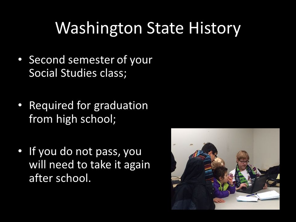 Washington State History Second semester of your Social Studies class; Required for graduation from high school; If you do not pass, you will need to take it again after school.