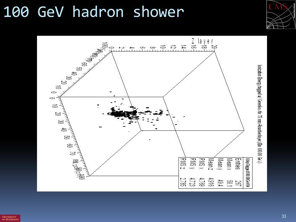 100 GeV hadron shower 33