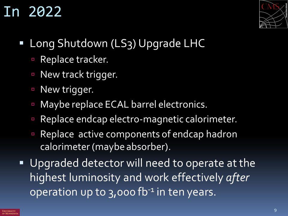 In 2022  Long Shutdown (LS3) Upgrade LHC  Replace tracker.  New track trigger.  New trigger.  Maybe replace ECAL barrel electronics.  Replace en
