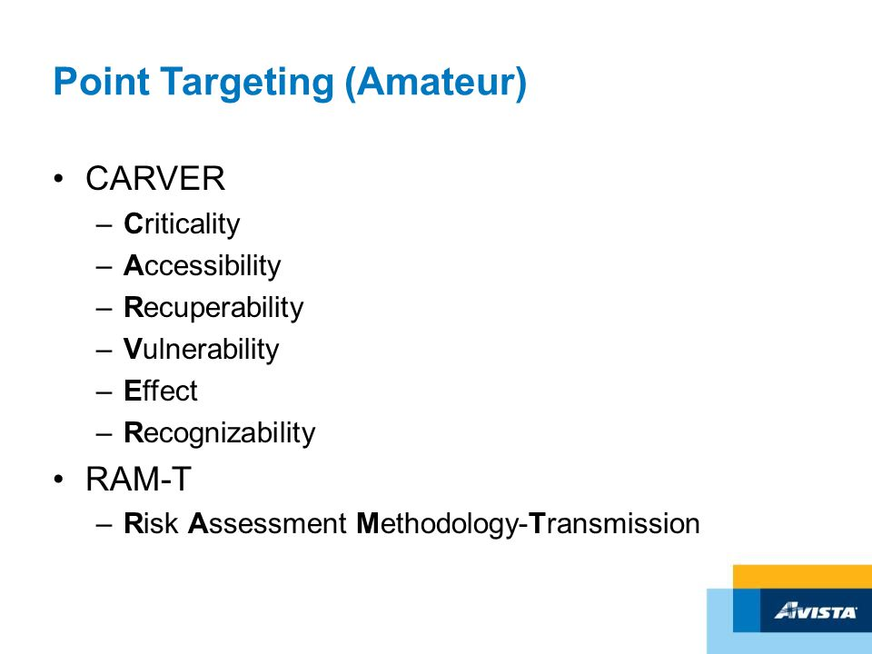 Point Targeting (Amateur) CARVER –Criticality –Accessibility –Recuperability –Vulnerability –Effect –Recognizability RAM-T –Risk Assessment Methodolog