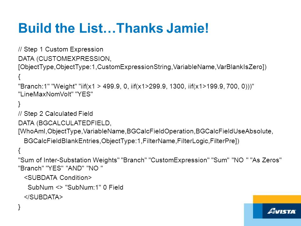 Build the List…Thanks Jamie.