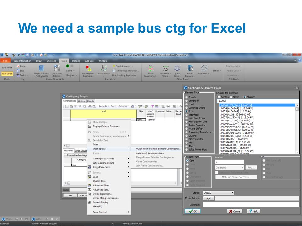 We need a sample bus ctg for Excel