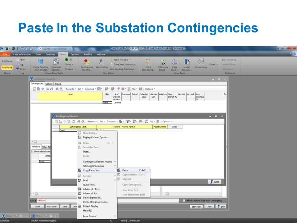 Paste In the Substation Contingencies