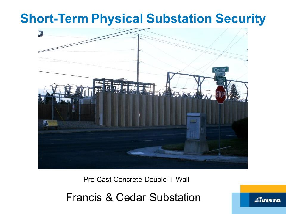 Short-Term Physical Substation Security Francis & Cedar Substation Pre-Cast Concrete Double-T Wall